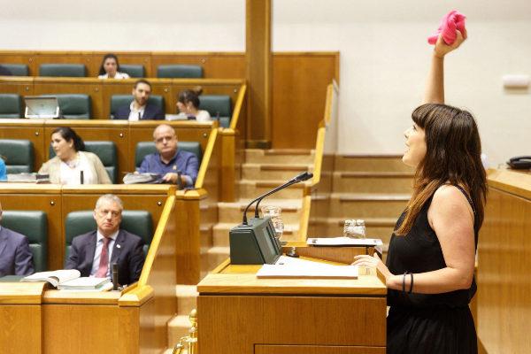 La parlamentaria de EH Bildu Ohiana Extebarrieta, durante el debate.