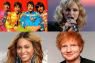 Beatles, Madonna, Beyoncé y Ed Sheeran, iconos de la música en diferentes décadas.