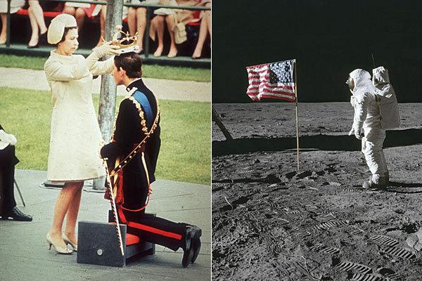Investidura del príncipe Carlos (1 de julio de 1969) y Neil Armstrong en la Luna (21 de julio de 1969).