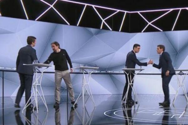 Casado, Iglesias, Sánchez y Rivera en uno de los debates televisados.