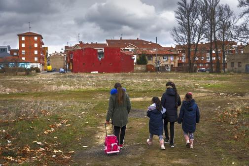 Un grupo de escolares de primaria, en León