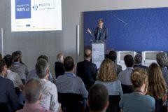 Aurelio Martínez, presidente de la Autoridad Portuaria de Valencia, durante la presentación, anoche en la sede de Insomnia, del proyecto Ports 4.0.