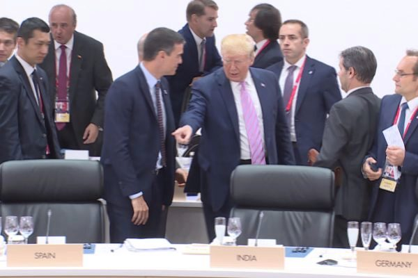 Donald Trump y Pedro Sánchez en una de las sesiones del G20.