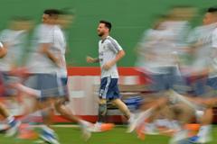 Messi, durante el último entrenamiento de Argentina en Río.