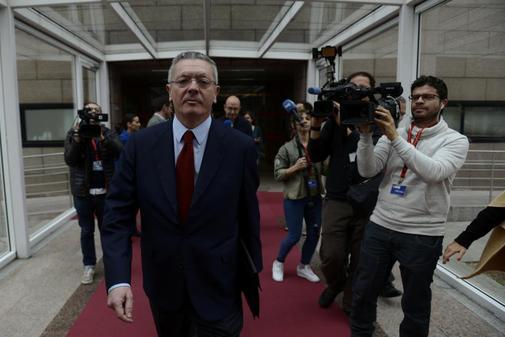 El ex presidente madrileño Alberto Ruiz-Gallardón, tras comparecer...