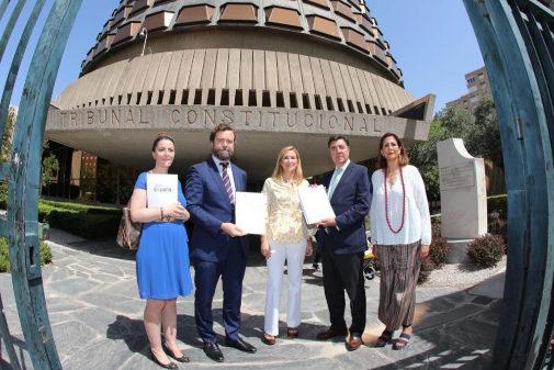 Representantes de PP y Vox ante el TC para registrar el recurso contra la ley de abusos policiales en Navarra