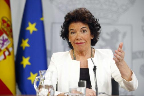 Isabel Celaá, en la rueda de prensa de este viernes tras el Consejo de Ministros.