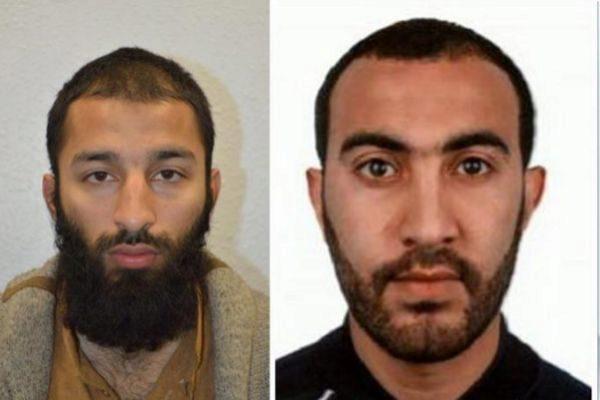 Retratos de dos de los tres sospechosos del atentado yihadista, perpetrado en el Puente de Londres el 3 de junio de 2017.