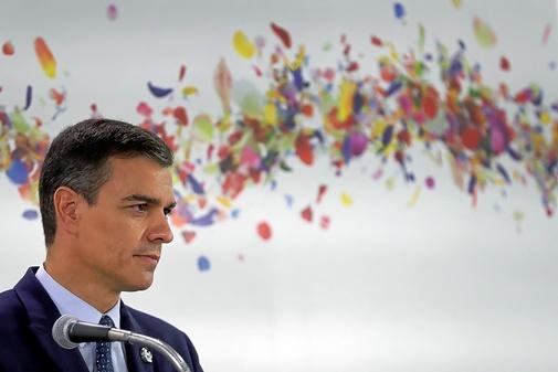 Pedro Sánchez, durante el viaje en Osaka para el G-20
