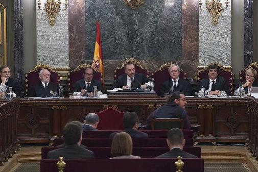 El tribunal del 1-O durante una de las sesiones en el Supremo