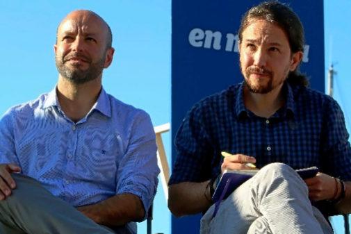 Pablo Iglesias y Luis Villares, en un acto de campaña en Vigo