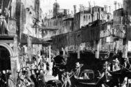 Dibujo del puente de Rialto hacia 1500 recogido de Historia de Venecia, en editorial Almed.