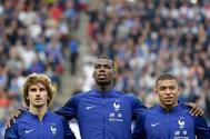 Griezmann, Pogba y Mbappe, con la selección francesa.