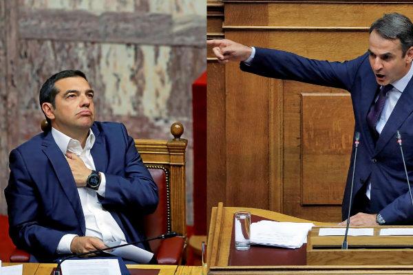 A la izquierda, el primer ministro griego, Alexis Tsipras, en una sesión parlamentaria; a la derecha, el líder de Nueva Democracia, Kyriakos Mitsotakis.