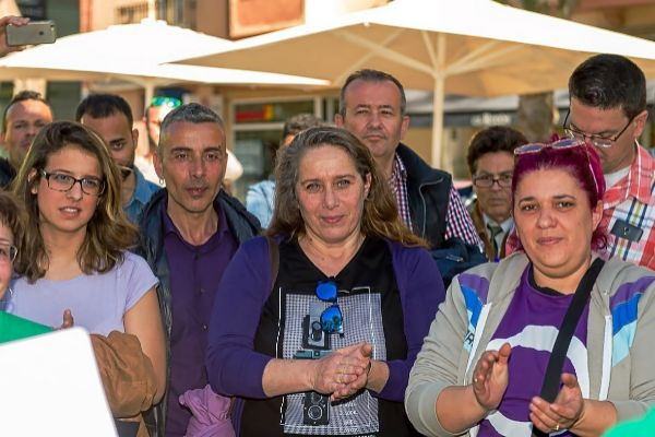 Representantes de Podemos Ibiza durante una concentración en defensa de los alquileres dignos en la isla.