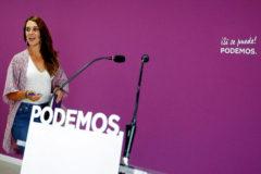 La portavoz de Podemos, Noelia Vera, en una rueda de prensa tras el consejo de coordinación del partido, en Madrid.