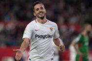 Sarabia festeja un gol al Alavés en Liga el pasado abril.
