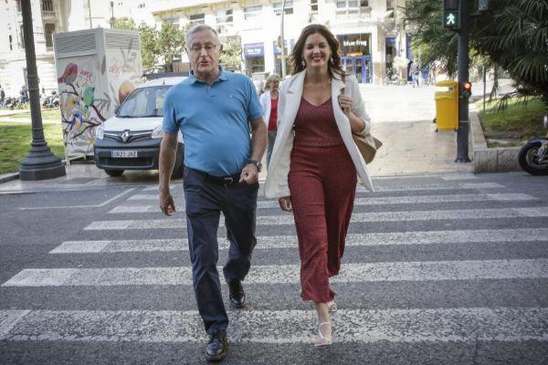 Joan Ribó y Sandra Gómez antes de iniciarse las negociaciones entre Compromís y PSPV.