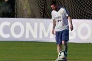 Messi, durante el último entrenamiento de Argentina.