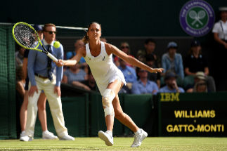 LONDON, ENGLAND - JULY 02: Giulia Gatto-Monticone of Italy plays a forehand in her Ladies' Singles first round match against Serena Williams of The United States during Day two of The Championships - <HIT>Wimbledon</HIT> 2019 at All England Lawn Tennis and Croquet Club on July 02, 2019 in London, England. (Photo by Matthias Hangst/Getty Images)