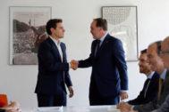Albert Rivera, durante la reunión que ha mantenido con el presidente de UPN, Javier Esparza este martes en el Congreso.