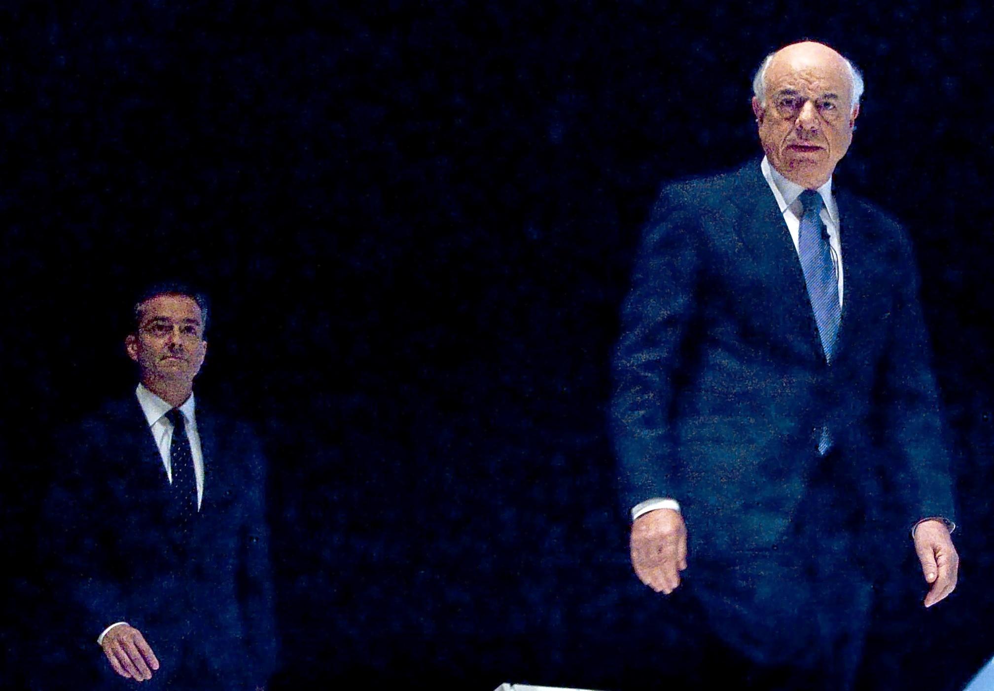 El ex presidente de BBVA, Francisco González, junto al ex consejero delegado, Ángel Cano.