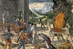Grabado de Teodoro de Bry muestra a españoles torturando a indios.