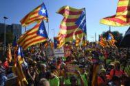 Manifestantes independentistas, el martes ante el Parlamento Europeo
