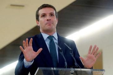 Pablo Casado, en la rueda de prensa ofrecida este martes en el Congreso.