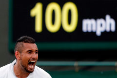 Australia's Nick <HIT>Kyrgios</HIT> reacts during his men's singles first round match against Australia's Jordan Thompson on the second day of the 2019 Wimbledon Championships at The All England Lawn Tennis Club in Wimbledon, southwest London, on July 2, 2019. (Photo by Adrian DENNIS / AFP) / RESTRICTED TO EDITORIAL USE
