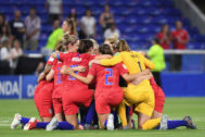 <HIT>USA</HIT>'s players celebrate after winning the France 2019 Women's World Cup semi-final football match between England and <HIT>USA</HIT>, on July 2, 2019, at the Lyon Satdium in Decines-Charpieu, central-eastern France. (Photo by Jean-Pierre Clatot / AFP)