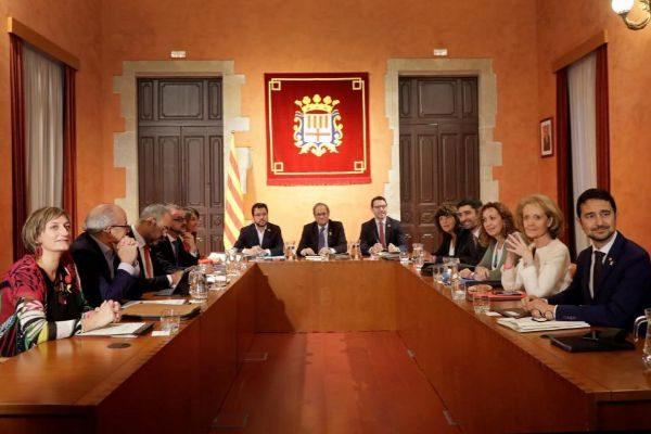 El presidente Torra en la reunión de Consellxecutiu de este miércoles celebrado de manera excepcional este miércoles en Manresa. en Manresa
