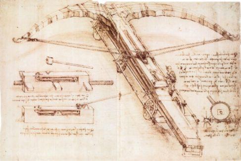 Ballesta gigante (1485, 'Códice Atlántico'). Pluma y tinta. Biblioteca Ambrosiana de Milán (Italia).