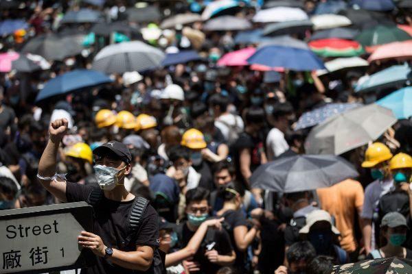Manifestación en las calles de Hong Kong.