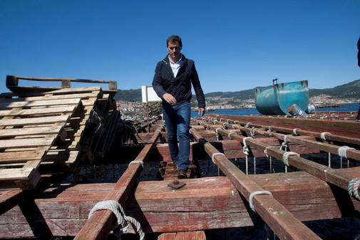 El presidente de Ciudadanos, Albert Rivera, durante una visita a Vigo.