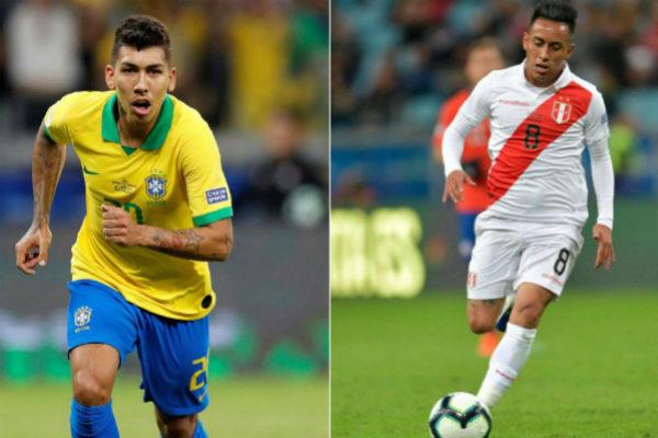 Los jugadores Firmino (Brasil) y Christian Cueva (Perú) en la Copa América 2019