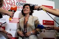 La vicepresidenta del Gobierno en funciones, Carmen Calvo, en los cursos de El Escorial.