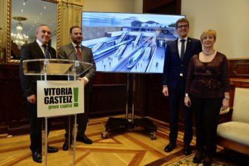El ministro Ábalos con las autoridades vascas en la última reunión sobre el soterramiento en Vitoria.