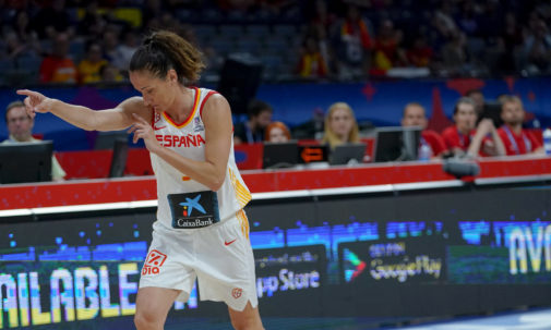 Laia Palau, durante el partido contra Rusia de cuartos.