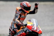 Hohenstein-ernstthal (Germany).- Spanish MotoGP rider Marc <HIT>Marquez</HIT> of Repsol Honda Team reacts after the qualification session of the Motorcycling Grand Prix of Germany at the Sachsenring racing circuit in Hohenstein-Ernstthal, Germany,, Germany, 06 July 2019. The Motorcycling Grand Prix of Germany takes place on 07 July. (Motociclismo, Ciclismo, Alemania) EPA/