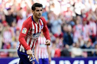 Morata celebra un gol con el Atlético.