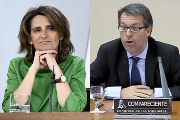 Teresa Ribera, ministra de Transición Ecológica, y Mariano Bacigalupo, consejero de la CNMC.