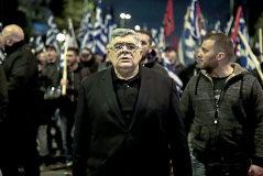 El líder el ultraderechista Amanecer Dorado, Nikos Mihaloliakos, en una protesta contra Turquía en Atenas.