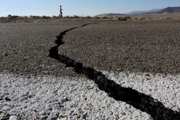 Fissures that opened up under a highway during a powerful earthquake...