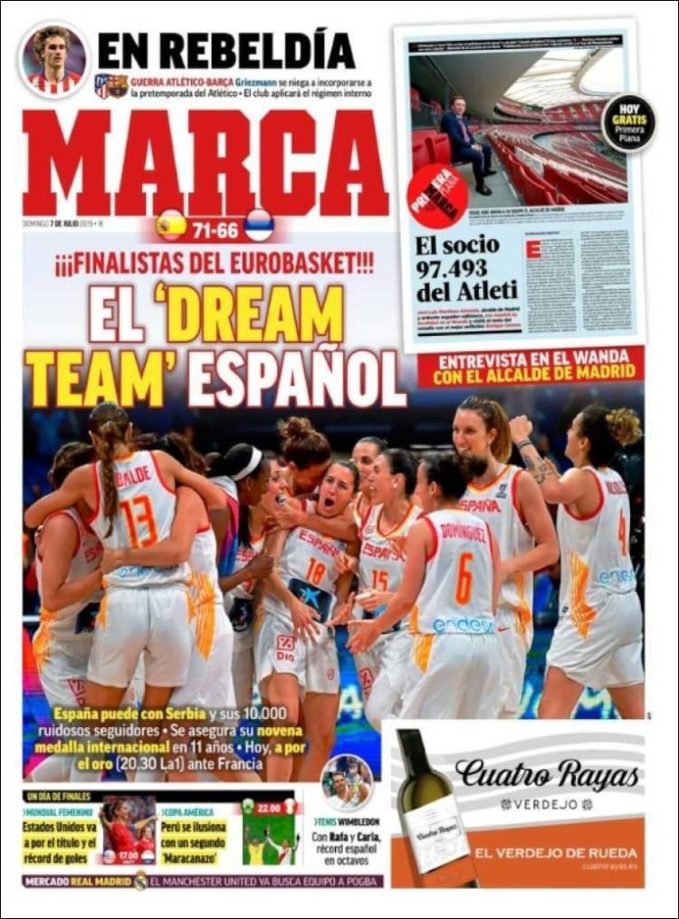 Portadas de la prensa deportiva (07/07/2019)