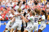 <HIT>USA</HIT> players celebrate after the final whistle during the...