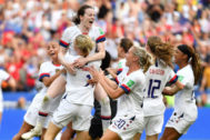 <HIT>USA</HIT> players celebrate after the final whistle during the France 2019 Women's World Cup football final match between <HIT>USA</HIT> and the Netherlands, on July 7, 2019, at the Lyon Stadium in Lyon, central-eastern France. (Photo by Philippe DESMAZES / AFP)