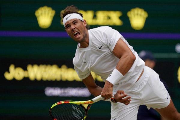 Rafa Nadal durante su tercer partido en Wimbledon