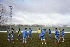 Los jugadores de la Arandina, en Burgos, a finales de 2017.