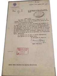 Documento oficial de Ángel Sanz Briz fechado en 1944.